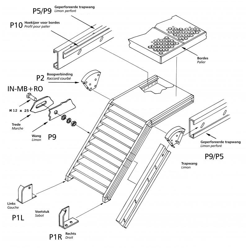 marche escalier caillebotis en acier galvanis 800 x 230 mm. Black Bedroom Furniture Sets. Home Design Ideas