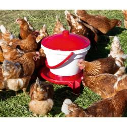 SEAU-ABREUVOIR 12 L pour poules avec pieds et anse de transport