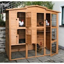 Poulailler robuste en bois pour poules L.222 x l.115 x h.200 cm