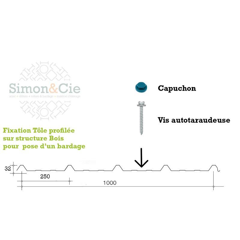 Vis autotaraudeuse 6.5x75 Bois pour Tôles de Bardage - Par 100 pièces