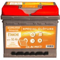 Batterie Clôture LACME étanche 12V-50 Ah à décharge lente
