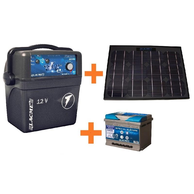 Electrificateur LACME SECUR 300 Solaire 33W+ACCU 62 AH
