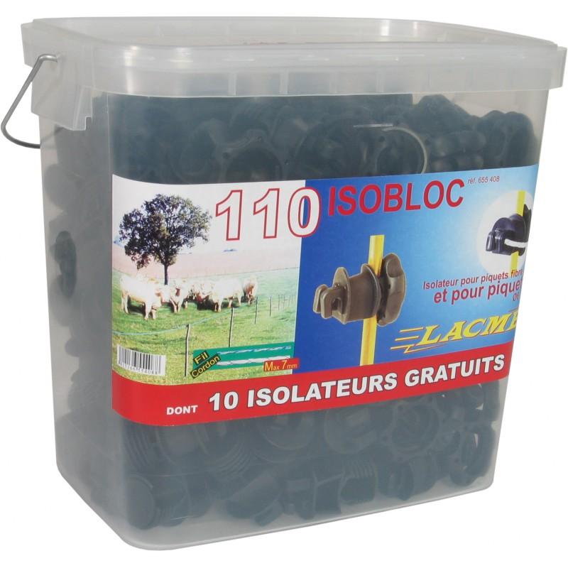 Isolateurs piquets métal et PFV LACME -  ISOBLOC 110 pour clôture électrique